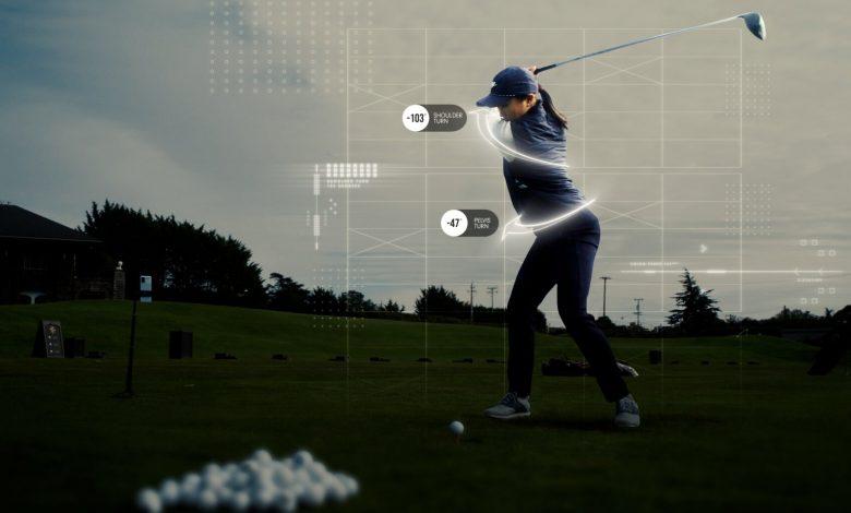 Imagen de una jugadora de golf analizada con el sistema 3D Golf