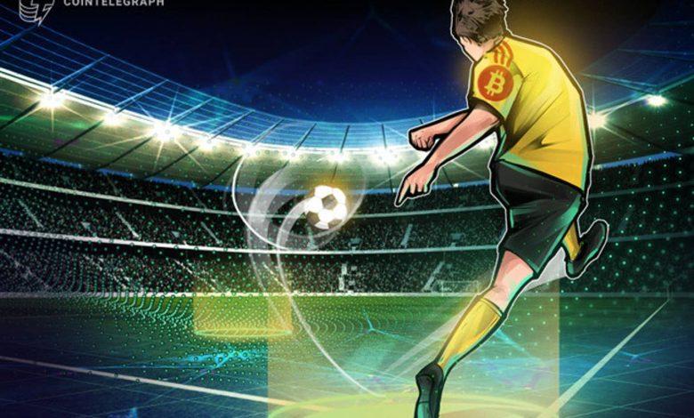 Un dibujo de un futbolista disparando