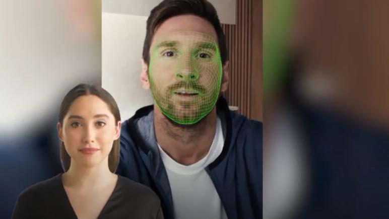 Leo Messi y sus mensajes personalizados gracias a la IA. / Fotos: Synthesia