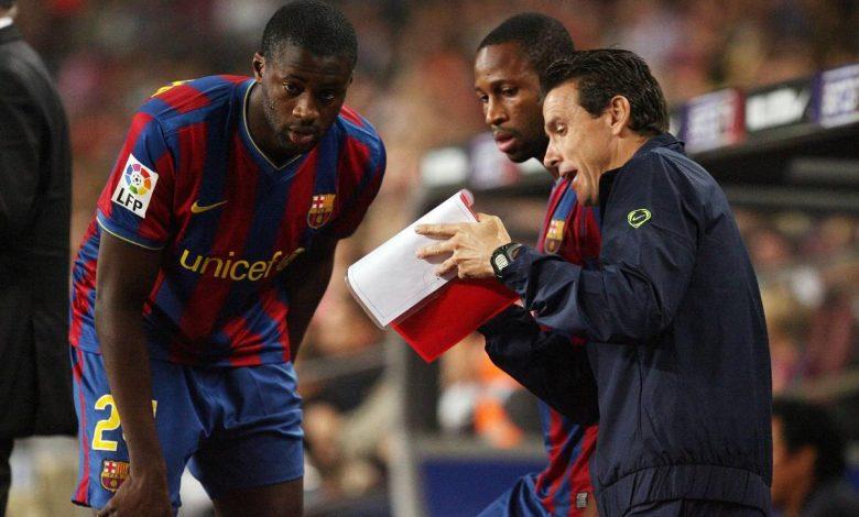 Unzué, dando instrucciones a los jugadores. Foto: FC Barcelona